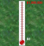 Fundraising thermometer. Help us reach our goal!